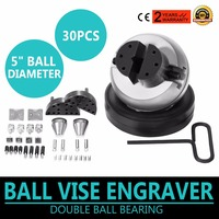 VEVOR Engraving Block 5 inch Ball Vise Setting Jewelry Ball Vise Engraving with 30PCS Attachment and Rubber Base