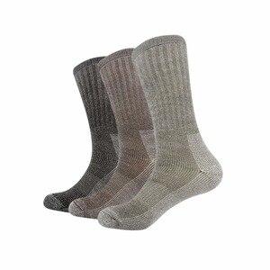 Image 1 - 3pairs/bag Vihir Men Winter Cushioned Merino Wool Socks High Knee Outdoor Sports Hiking Camping Climbing Socks Cycling Ski Socks