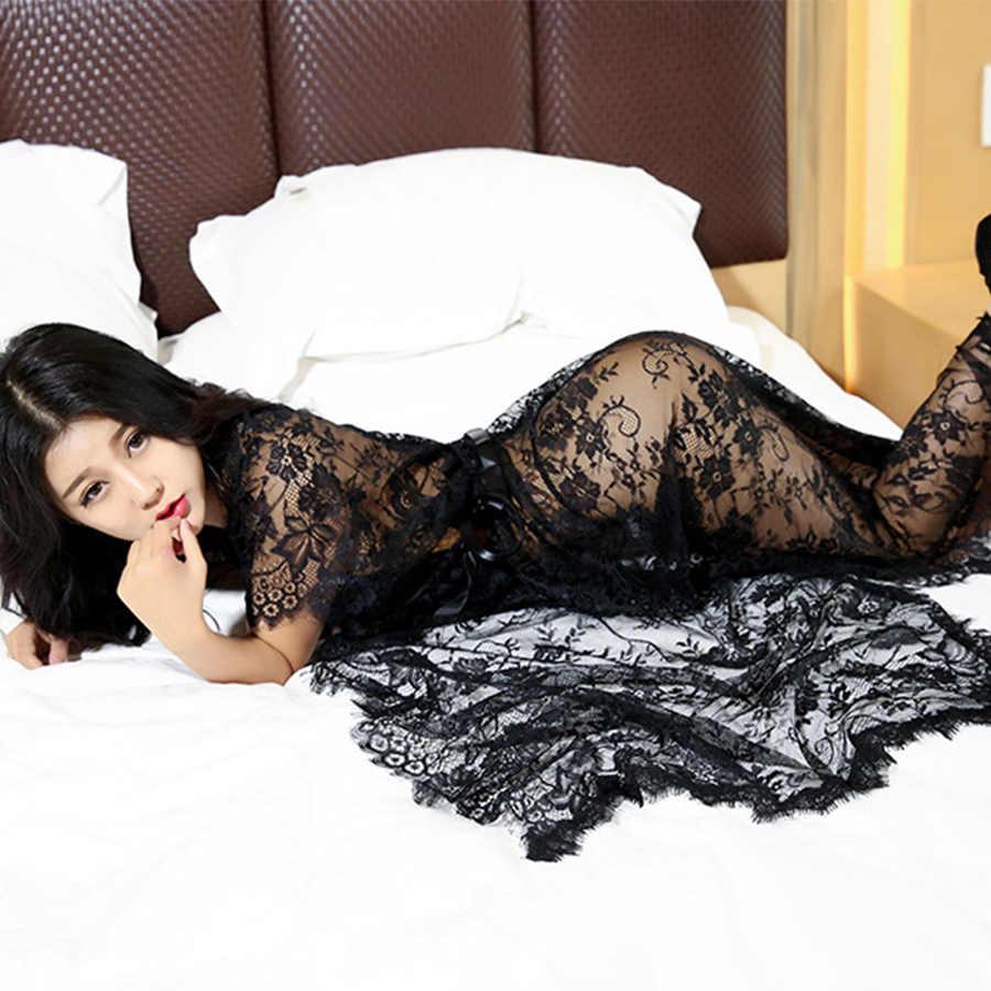 921eca00e1 ... Sexy Hollow Dress Women Fashion Stretch Black Lace Maxi Dress Ladies  2018 Summer Net Yarn Halter ...