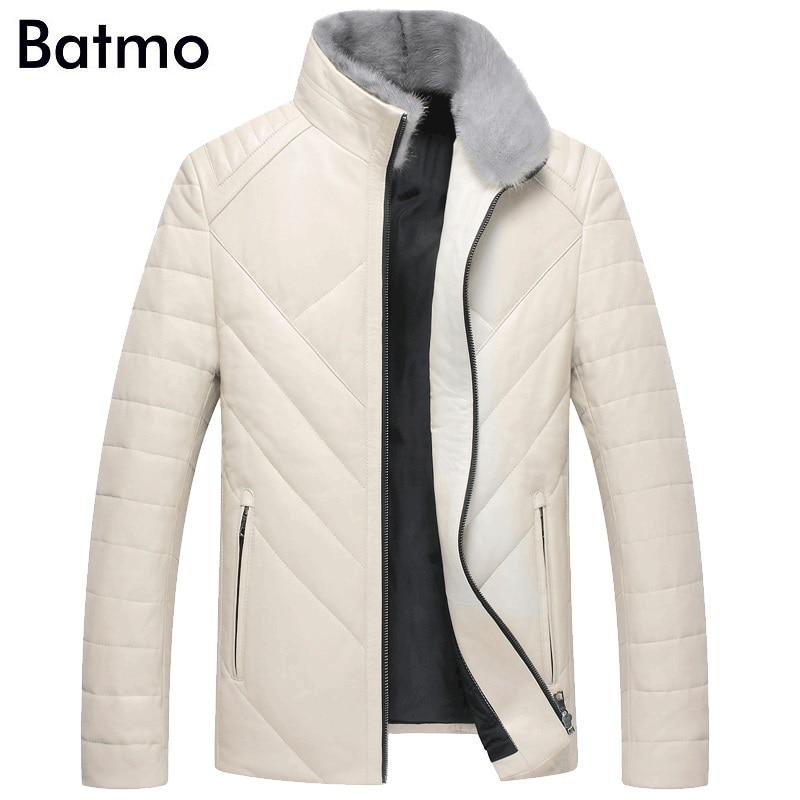 BATMO 2018 new arrival winter high quality sheepskin mink fur collar white duck down jackets men