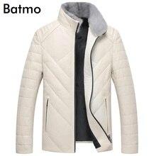 Batmo 2018 Новое поступление Зима высокое качество овчины и норки воротник белый куртки-пуховики мужчин, мужская real кожаная куртка, YR002
