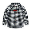 Kids plaid shirts boys plaid shirts with bow tie child long-sleeve shirts for boys 100% cotton spring and autumn