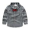 Niños camisas a cuadros muchachos camisas de tela escocesa con pajarita niño de manga larga camisetas para niños 100% algodón de primavera y otoño