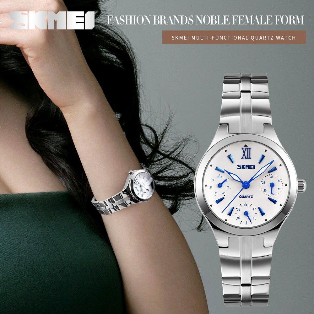 Fashion Women Watches SKMEI Women's Stainless Steel 30M Waterproof Quartz Watch Ladies Wristwatch Relogio Feminino Montre Femme