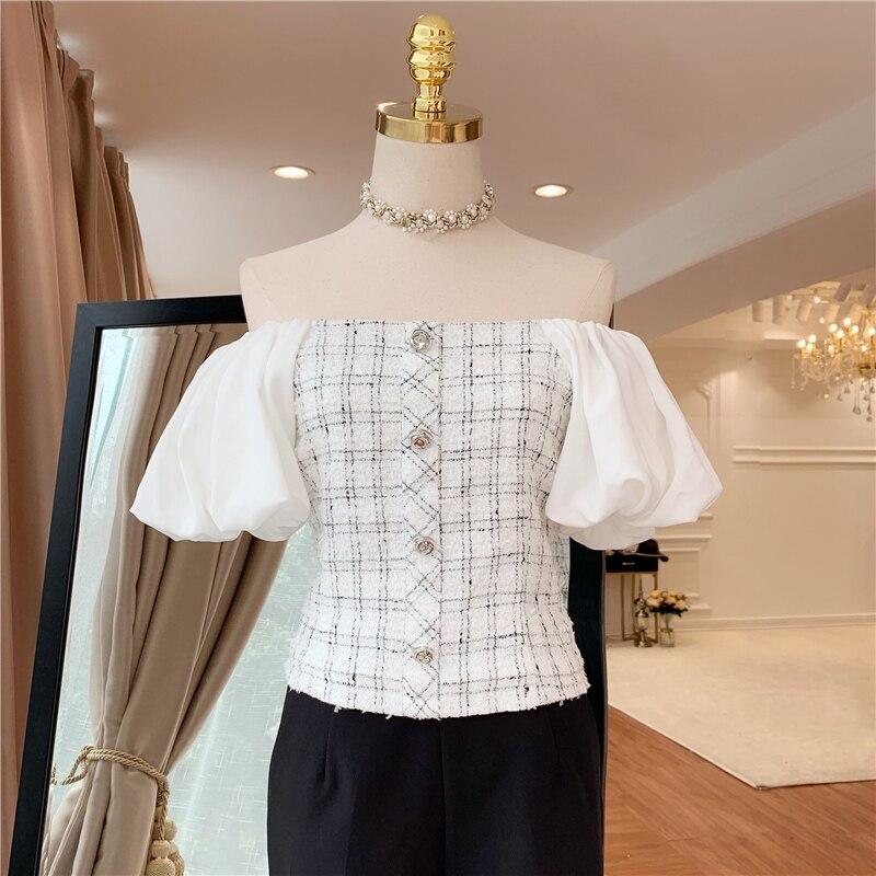 HIGH QUALITY Newest Fashion 2019 Designer Blouse Women's Puff Sleeve Slash Neck Plaid Blouse Top