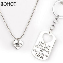 SOHOT Family Jewelry Mommy's Daddy's Girl Heart Pendant Necklace Love Keychain Fashion Accessories Birthday Gift(China)