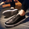 2016 New Casual Shoes Men Leather Shoes Fashion Black Korean Low Lace UP Men Flats Shoes Summer Autumn British Bullock Man Shoes