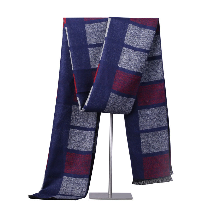 New Autumn Winter Men's Imitation Cashmere Scarf Men Warm Plaid Striped Scarves For Boys Fashion Business Scarf Dad Scarves Latest Fashion