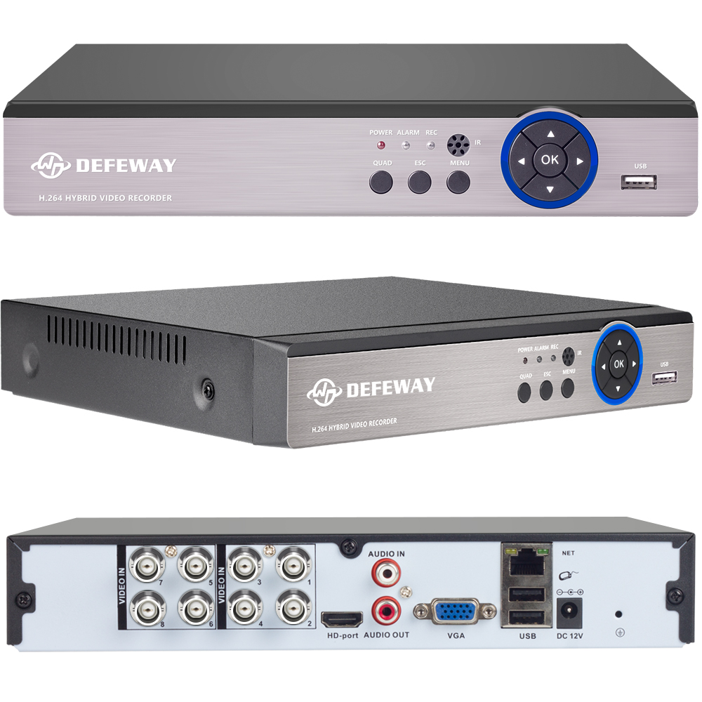 DEFEWAY 1080N HDMI Surveillance Video Recorder 8 CH AHD DVR Network P2P NVR for IP Camera 8 Channel CCTV Security System No HDD ...