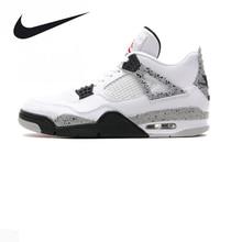 Nike Air Jordan 4 Boys Basketball Shoes Jordan 4 White Cement, Original Men's Sports Shoes 840606 192