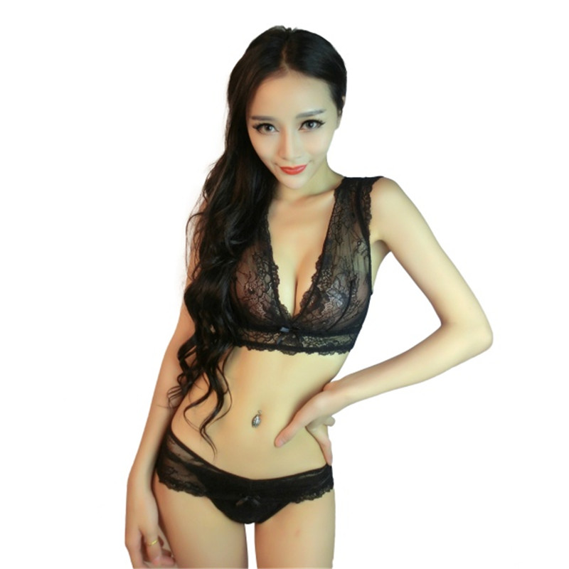 New Fashion Sexy Women Embroidery Floral lace Sheer Thongs Panty Lingerie Underwear   Bra     Set