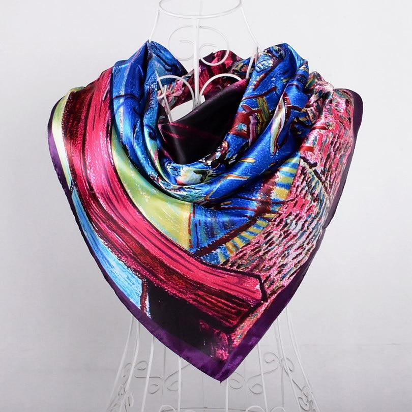 Дизайн женский Шелковый большой квадратный шелковый шарф из полиэстера, 90*90 см горячая Распродажа атласный шарф с принтом для весны, лета, осени, зимы - Цвет: purple blue 524