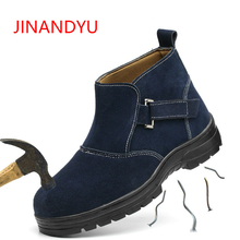 Mens Casual Big Size Welder Dress Steel Toe Caps Working Safety Welding Shoes Spring Autumn Genuine Leather Platform Ankle Boots men black high tops steel toe cap working safety welding shoes womens outdoors soft leather ankle boots spring autumn plate sole