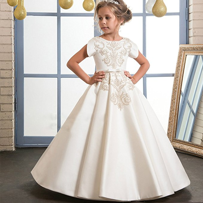Floor Length Ivory Applique Lace   Flower     Girl     Dresses   2019 Satin Short Sleeves First Communion   Dresses     Girls   Pageant   Dress