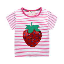 Girls Summer Tops Kids Tee Shirt File 2019 Brand New Children T shirts for Girls Clothes Cotton Baby Girl T-shirt girls summer tops children t shirts baby clothes 2018 new autumn brand black velvet tees girl t shirt lace kids tee shirt fille