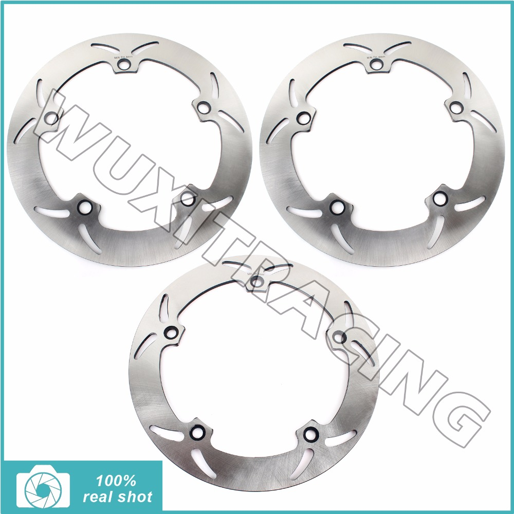 3pcs Silver Full Set Front Rear Brake Discs Rotors for BMW R 850 GS R 98-07 99 00 01 R 1000 GS S 94-01 R 1150 GS ADVENTURE 02-05 full set front rear brake discs disks rotors pads for suzuki gsxr 750 94 95 gsx r 1100 p r s t 1993 1994 1995 1996