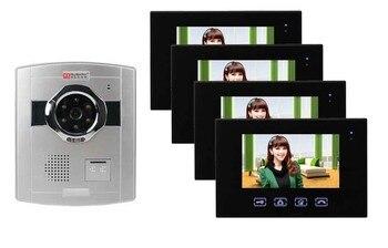 جديد اللمس مفتاح 7 بوصة السلكية الفيديو باب الهاتف/doorphone/إنترفون ، hd الكاميرا ، للرؤية الليلية 1 كاميرا + 4 مراقبين