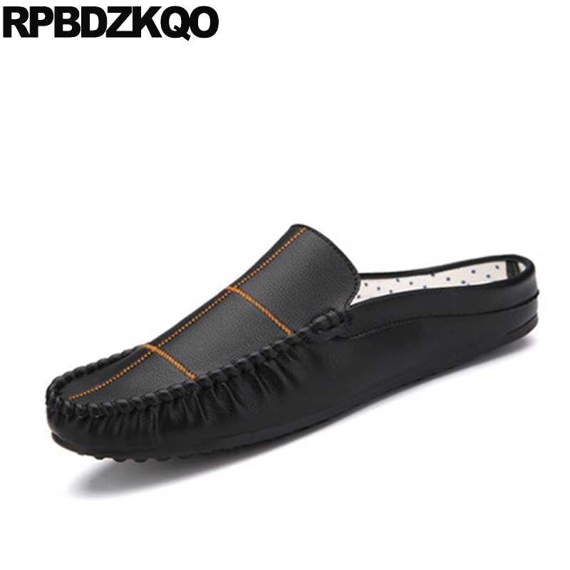 42b53aafcae088 Designer Moccasins Casual Summer Rubber Fashion Soft Mules Slides Sandals  2018 New Men Flats Black Shoes