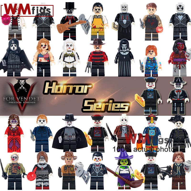 Toys & Hobbies Smart 30pcs/set Halloween Holiday Horror Movie Jason Voorhees Freddy Pinhead Zombie Figures Gifts Building Blocks Toys For Children