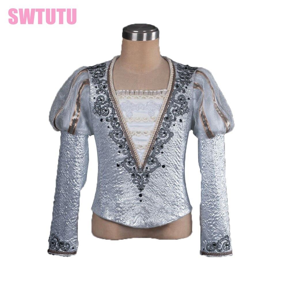 silver Man Fashion ballet boy dance costume professional male ballet flannelet top shirt,men's ballet top ballet jacket BM0003A