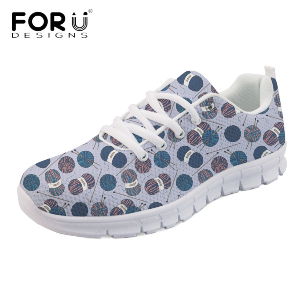 FORUDESIGNS Cute Knitting Yarn Print Girls Casual Flats Fashion Light Lace Up Breathable Sneakers Spring Comfortable Walk Shoes instantarts cute glasses cat kitty print women flats shoes fashion comfortable mesh shoes casual spring sneakers for teens girls