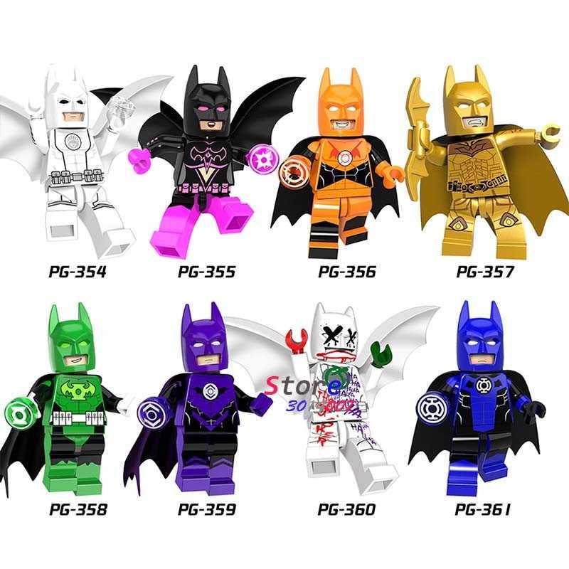 Super Hero Tunggal Marvel DC Joker Klan dari Gua Putih Merah Lentera Batman Komik Bangunan Blok Batu Bata Mainan untuk anak-anak