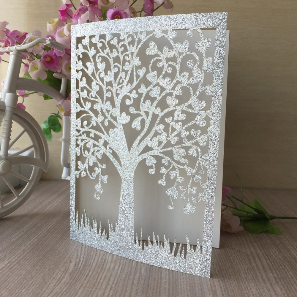 Laser Cut Gold Platinum: 50pcs Laser Cut Tree Design Invitation Silver Gold Glitter