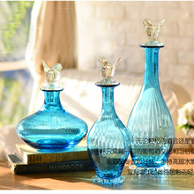 Home goods home American country Xia Kelin blue glass storage tank Canister wholesale decorative handicrafts