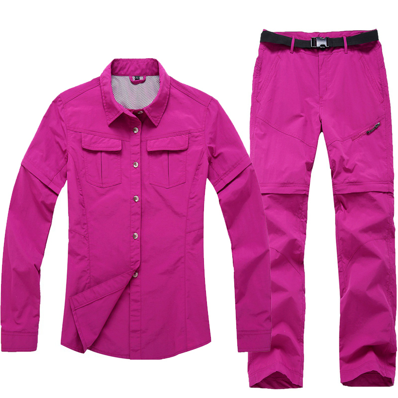 Women's Outdoor Hiking Camping Fishing Trekking Quick Dry Shirt+Pants Suit Removable Whole-colored Clothes Summer Spring Autumn  summer women spring trecking quick dry hiking shirt woman fishing pant sportwear camping trousers suit plus size shirt pant s21