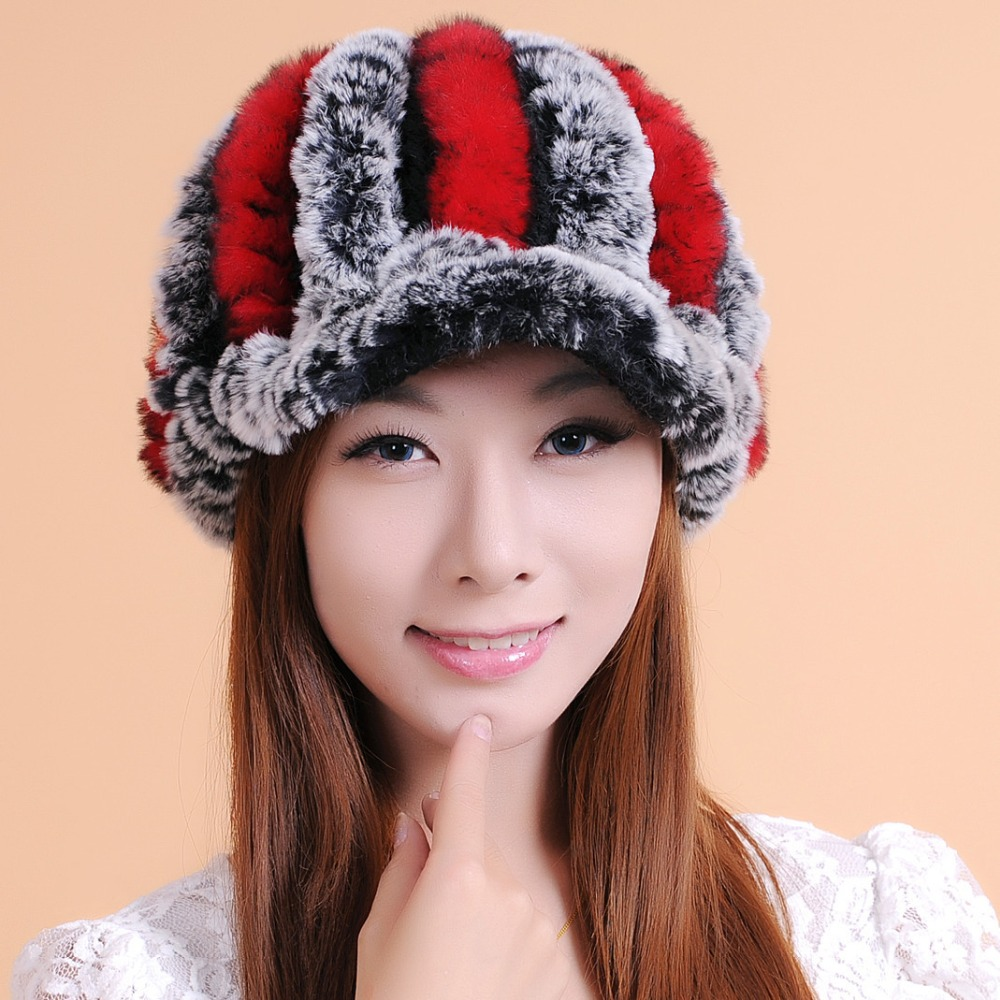 Women Knitted Rex Rabbit Fur Hats Natural Stripe cony hair Caps lady winter Beanie warm Hat gorros mujer invierno A002