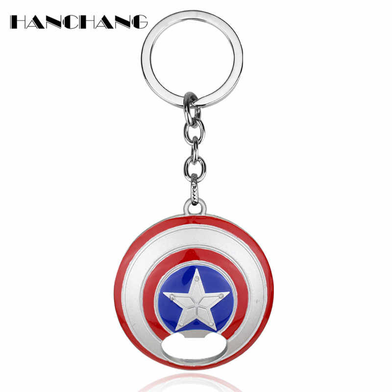 DC Comics Jewelry The Avengers Character Captain America Shield Keychain 2 Use Bar Beer Bottle Opener&Key Ring Key Chains