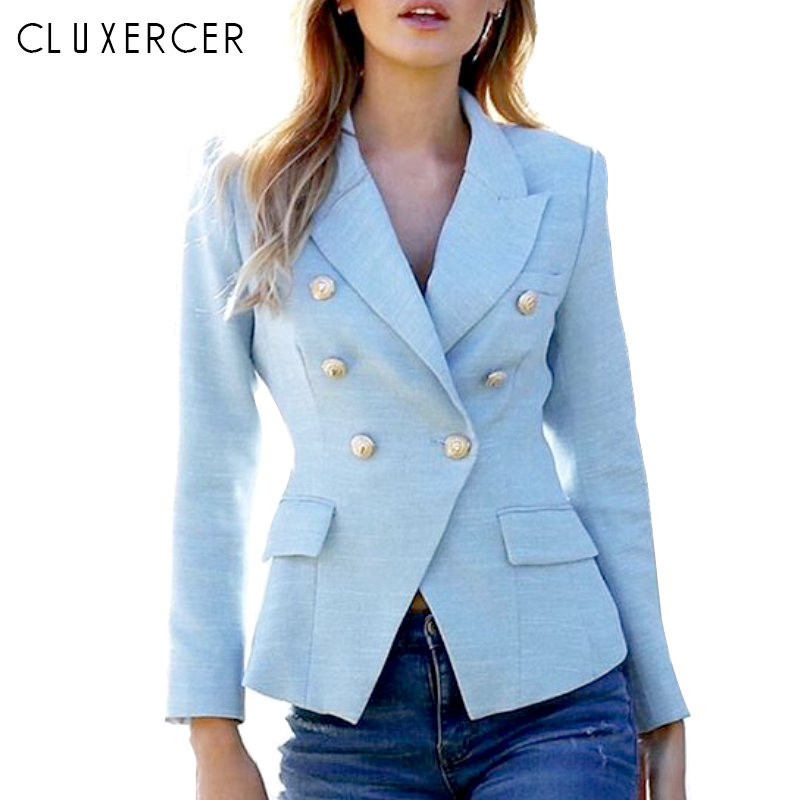Light Blue Blazers 2019 New Fashion Women Notched Neck Double Breasted Work Office Lady Blazer Coats