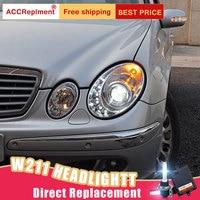 2Pcs LED Headlights For Benz W211 2003 2009 led car lights Angel eyes xenon HID KIT Fog lights LED Daytime Running Lights