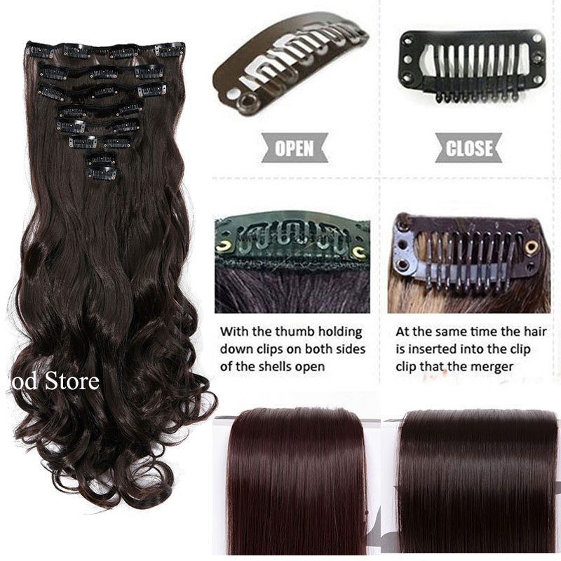 SNOILITE 24inch 170g Long Curly 18 Clips i False Hair Styling - Syntetiskt hår - Foto 5