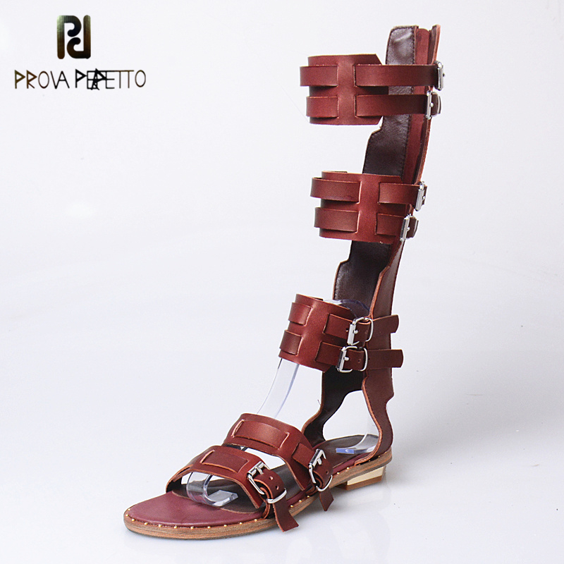 Prova Perfetto Top Quality Genuine Leather Sandals Women Gladiator long Boot Hollow Out Shoes Retro Zip Buckle Student Flat Shoe breasted hollow out zip up teddy