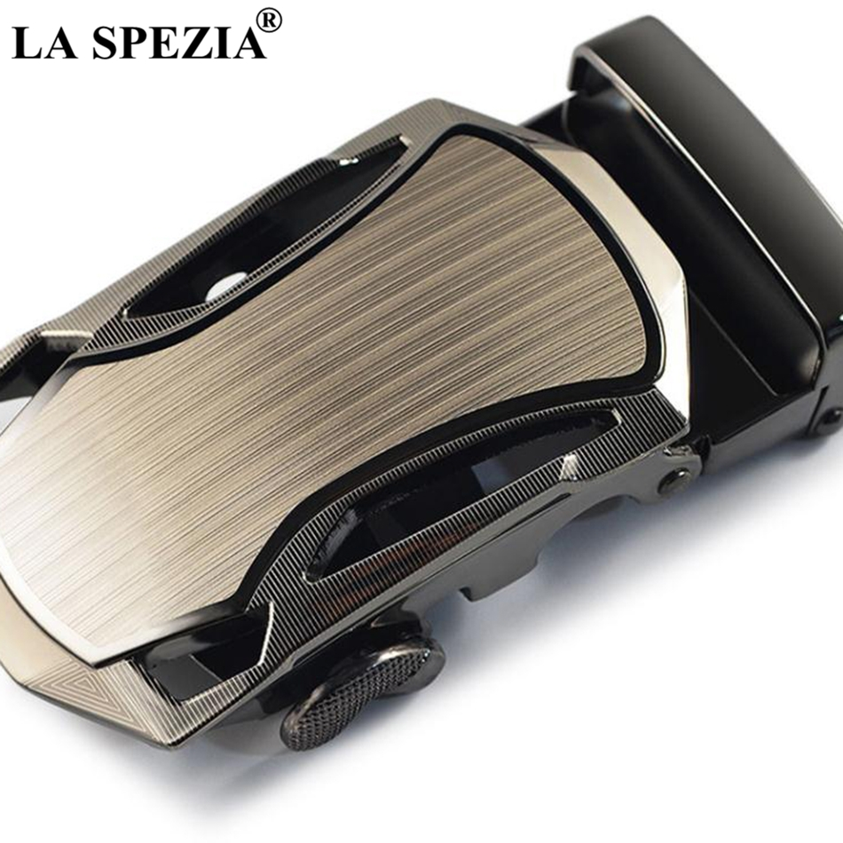 LA SPEZIA Cowhide Leather Belt For Men Automatic Buckle Belt Male Black Formal Business Solid Vintage High Quality Brand Belts in Men 39 s Belts from Apparel Accessories