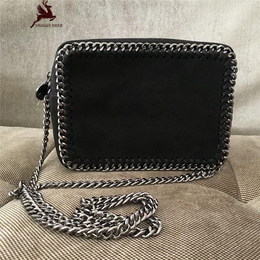New High Quality Shaggy Deer PVC Small Flap Camera Chain Bag Luxury Black  Lady Leisure stella  Crossbody Shoulder Bag mini gray shaggy deer pvc quilted chain bag with cover real picture
