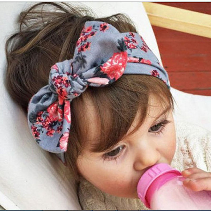 New Baby Floral Printed Top Knot Headband for Girl Hair Fashion Flower Baby Turban Headband Girl Cotton Headwrap 10pcs/lot