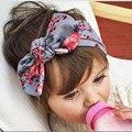 New Baby Floral impresso Top Knot Headband para a menina do cabelo flor moda bebê Turban Headband Headwrap da menina do algodão 10 pçs/lote