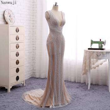 Real PhotoLuxury  Champagne Mermaid Evening Dresses With Pears Sweep Train   Sparkly Evening Gown Robe De Soiree 2018 In stock 4