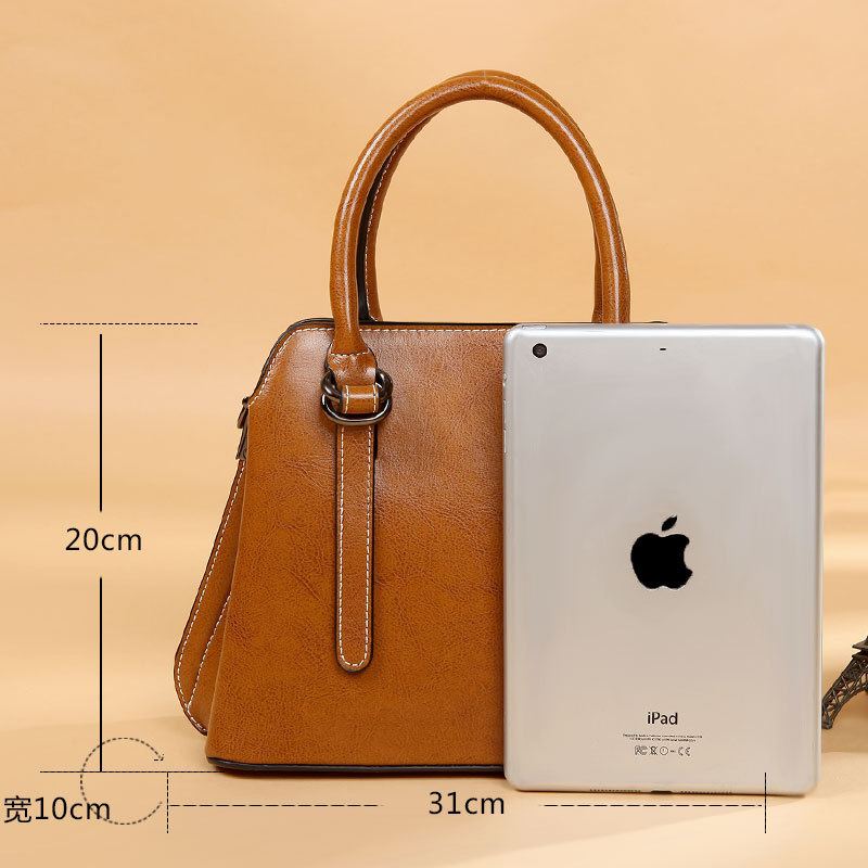 luxury Genuine Leather Handbags Cowhide women's bag Women Messenger Crossbody Bag Female Fashion Shoulder Bags for women 2019-in Top-Handle Bags from Luggage & Bags    2