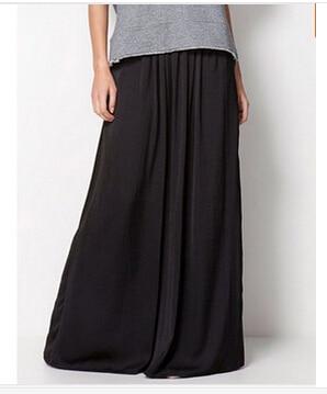 Женская длинная юбка в стиле знаменитостей пастельных конфетных цветов, плиссированная юбка размера плюс для женщин, юбки синего, зеленого, розового, красного цветов - Цвет: Черный