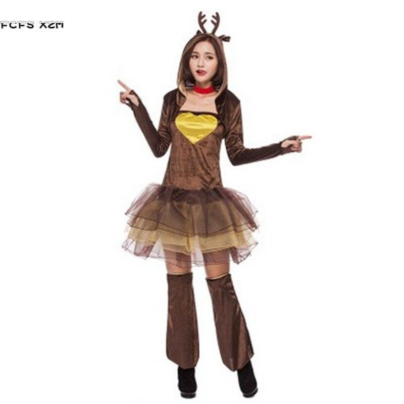 New Cute Woman Reindeer Animal cosplays Female Halloween Christmas Party Costumes Winter pajamas Carnival Purim Masquerade dress