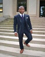 2018 màu xanh Hải Quân Tuxedo Đạt Đỉnh Ve Áo 3 Túi Men Suits chú rể phù hợp với Đám Cưới Chính Thức phù hợp cho nam giới Rễ Phụ Suits 3 miếng