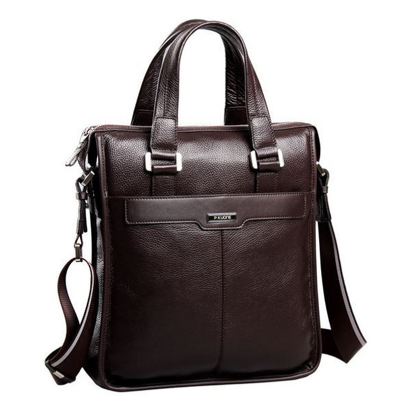 P.kuone 2020 New Brand Men Bag Genuine Leather Handbag Perfect Quality Natural Cowskin Vertical Men Business Briefcase