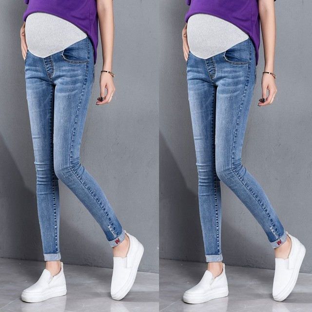 Denim Maternity Long for Pregnant Women Clothing Pregnancy Cotton Clothes Short Belly Ripped Jeans Pants Gravida Trouse *25