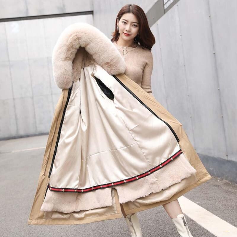 Femmes parka réel rex fourrure de lapin doublure manteau dames long manteau de fourrure à capuchon avec col de fourrure de renard femmes vêtements de sortie d'hiver