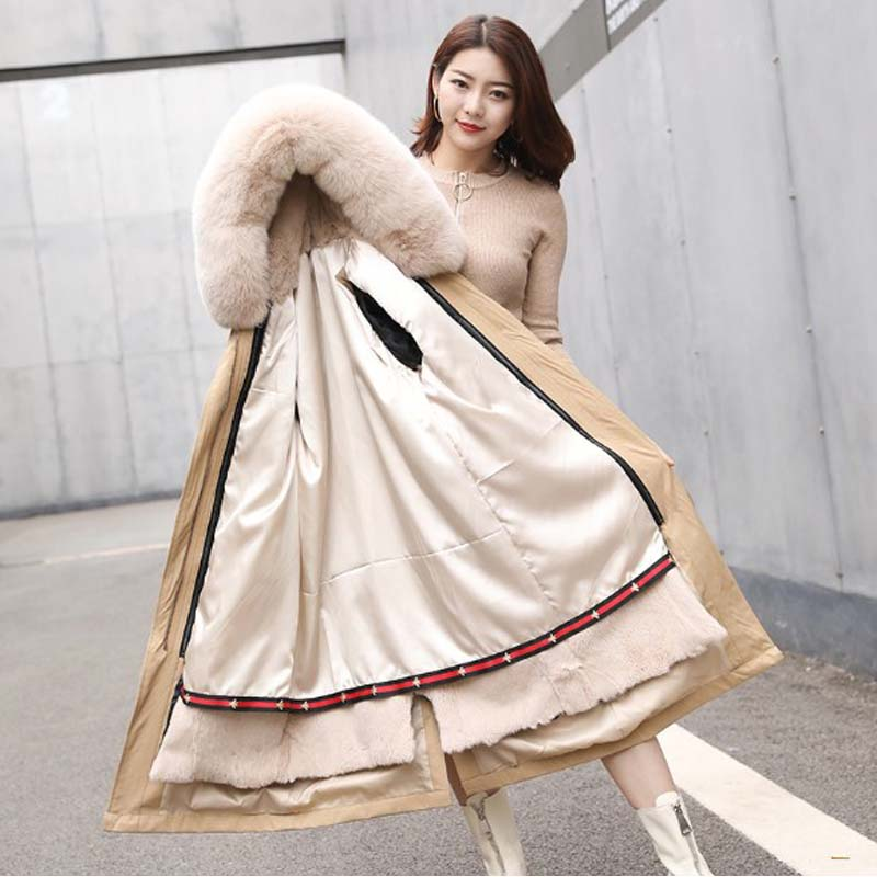 Women parka real rex rabbit fur liner coat ladies long fur overcoat hooded with fox fur collar female winter outerwear image