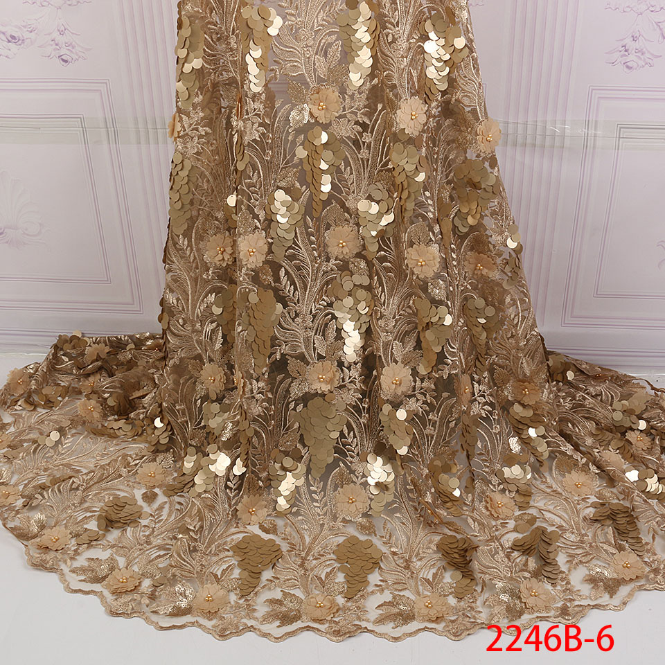 Golden Shining Sequence Lace Fabric Beaded French Laces Fabrics High Quality Tulle French Nigerian Lace Applique