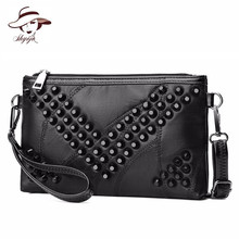 Genuine Leather Sheepskin Women Bag Female Clutch Patchwork Messenger Bag Envelope Rivet Crossbody Handbag Purse Bolsas Feminina